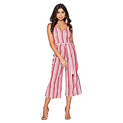 Quiz - Red and pink stripe culottes jumpsuit