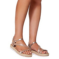 Quiz - Rose gold diamante slant flat sandals