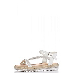 Quiz - White diamante slant flat sandals