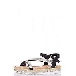 Quiz - Black diamante slant flat sandals
