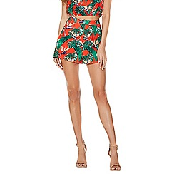 Quiz - Orange and green tropical high waist shorts