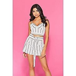 Quiz - TOWIE white stripe shorts