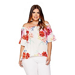 Quiz - Curve cream floral print bardot top
