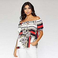 Quiz - Navy red and cream floral stripe bardot top
