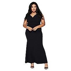 Quiz - Curve black wrap maxi dress