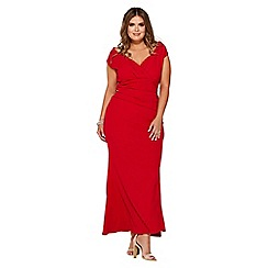 Quiz - Curve red bardot wrap maxi dress