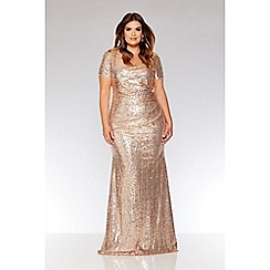 Quiz - Curve rose gold sequin maxi dress