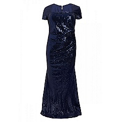 Quiz - Curve navy sequin maxi dress