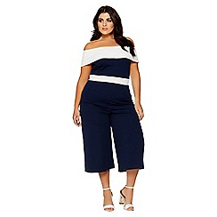 Quiz - Curve navy and cream bardot jumpsuit