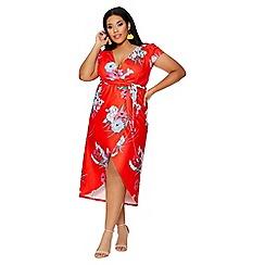 Quiz - Curve red oriental wrap cap sleeve dress