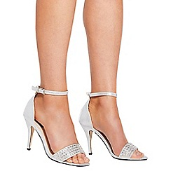 Quiz - Silver diamante strap heel sandals