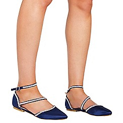 Quiz - Navy satin diamante pumps