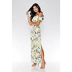 Quiz - Yellow floral cold shoulder maxi dress