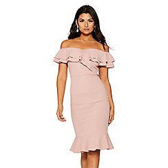 Quiz - Pink bardot double frill flare dress