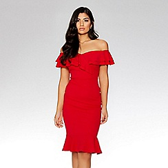 Quiz - Red bardot double frill flare dress