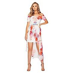 Quiz - Cream floral print bardot dress