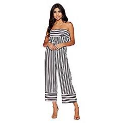 Quiz - White & black stripe bandeau palazzo jumpsuit