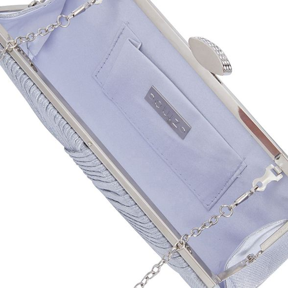 clutch Quiz bag Silver shimmer pleated TqqzxRwf