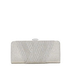 Quiz - Grey shimmer pleated clutch bag