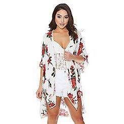 Quiz - white and red flower print kimono