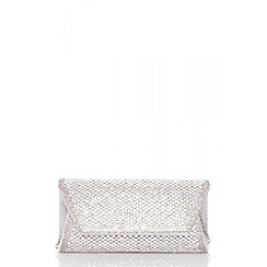 Quiz - Silver diamante envelope clutch bag