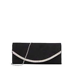 Quiz - Black faux suede diamante trim clutch bag