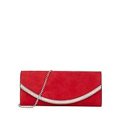 Quiz - Red faux suede diamante trim bag