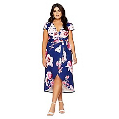 Quiz - Curve navy and pink floral wrap dress