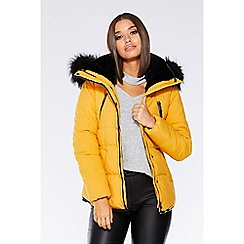 Quiz - Mustard padded faux fur jacket