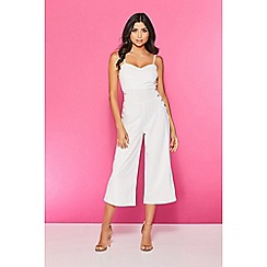Quiz - TOWIE cream button culotte jumpsuit
