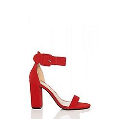 Quiz - Red faux suede buckle heels