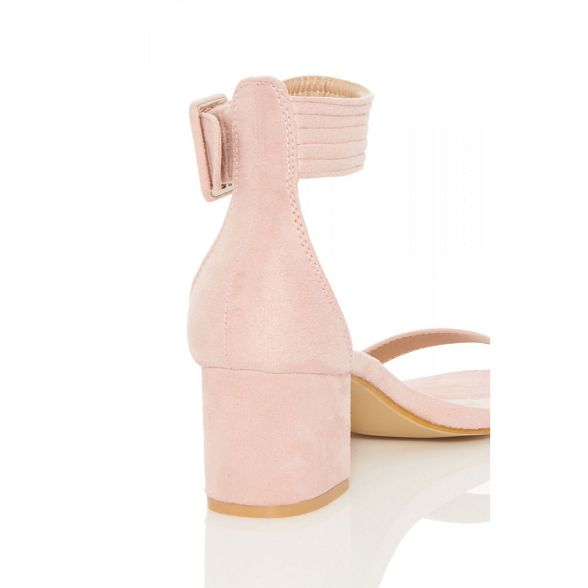 Pink buckle suede Quiz low faux heels vzq6nSHn