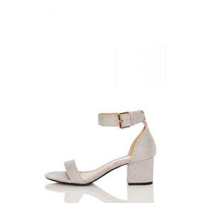 Quiz - Grey faux suede buckle low heels