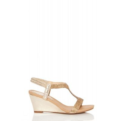 Quiz   Gold Diamante Wedge Sandals by Quiz