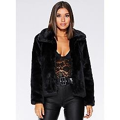 Quiz - Black short fur collar jacket