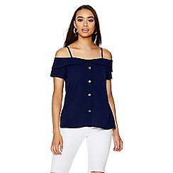 Quiz - Navy button strap cold shoulder top