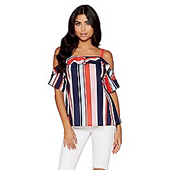 Quiz - Towie red, pink and navy cold shoulder top