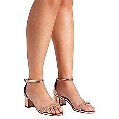 Quiz - Rose gold low block heel sandals