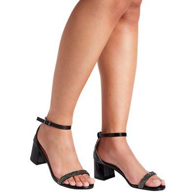 Quiz - Black Diamante Low Heel Sandals