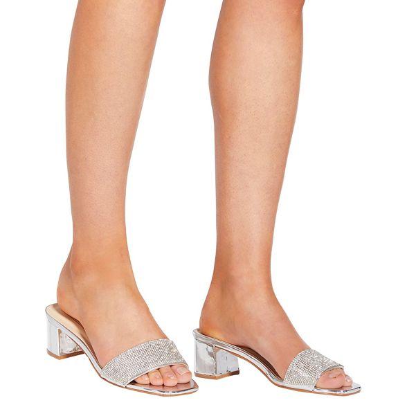 Silver low heel low heel mules mules Quiz Silver Quiz heel Silver Quiz low qEwaE6vr