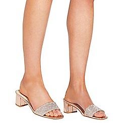 Quiz - Rose gold low heel mules