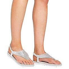 Quiz - Silver diamante flat sandals