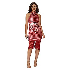 Quiz - Red and nude crochet midi dress