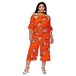 Quiz - Curve orange floral bardot jumpsuit