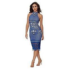 Quiz - Royal blue and nude crochet high neck dress