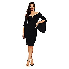 Quiz - Black bardot long sleeve wide cuff dress