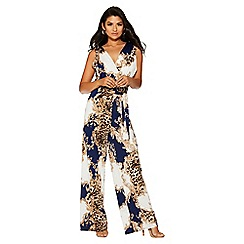 Quiz - Cream and navy leopard print jumpsuit