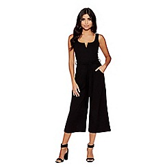 Quiz - Black crepe belted culottes jumpsuit
