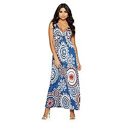 Quiz - Blue cream and red print maxi dress