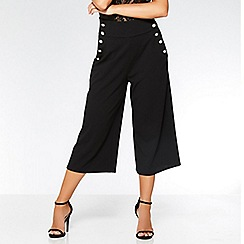 Quiz - Black military button culotte trousers